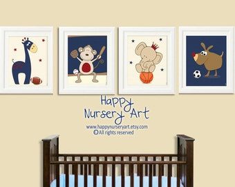 Art for boys nursery,Sports nursery wall art, kids art, soccer, football, basketball,baseball, navy blue, yellow, red, baby boy wall art