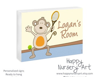 Baby Boy Nursery Sign, Sports Nursery art,Custom Name Plaque,Tennis Monkey,Baby Room Decor,Wall Art Name Plaque,Newborn Art gift Toddler Boy