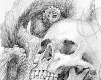 """Martinefa's original drawing - """" Octoskull #2"""""""