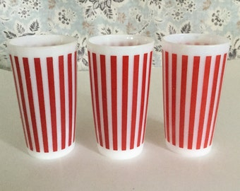 Set of Three Vintage Hazel Atlas Red Striped Milk Glass Drinking Glasses,Candy Striped Glasses