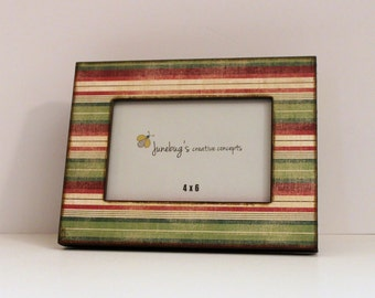 Christmas Holiday Striped Linen Look Photo Frame