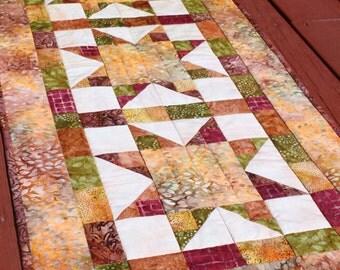 Fall Table Runner- Batik Stars - Quilt Handmade