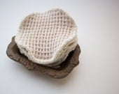"Organic Cotton Natural Waffle Weave Facial Rounds -- 4"" Diameter, Choose your Quantity and Thread"