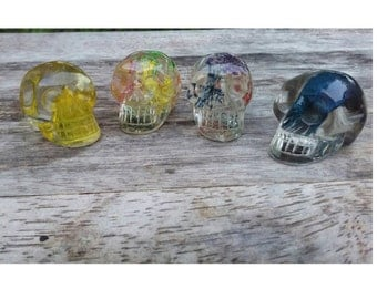 Bloomin lil brainiacs - resin preserved botanicals, or feather, tiny skull (1) piece. Quirky decor