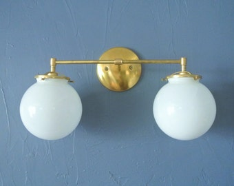Double Glass Globe Wired Wall Sconce - Custom Bathroom Vanity Light - 9 Globe Options