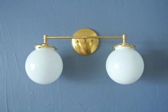 Double Glass Globe Wired Wall Sconce Custom by pepeandcarols