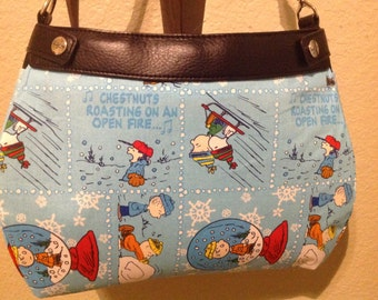 Light blue Peanut gang Christmas caroling SUITE skirt purse skirt cover handmade Thirty one