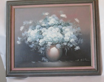 Large Original Oil Painting of Blue Flowers in Frame. Signed.