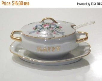 AUGUST SALE Vintage Lefton China Anniversary Sugar Bowl Double Handle with Original Spoon