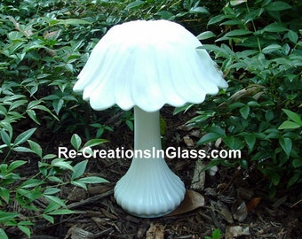 White glass mushroom. Whimsical garden art made with upcycled/repurposed glass. Mushroom totem.