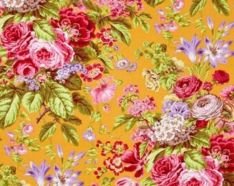 Kaffe Fassett for Rowan Westminster Fibers - Floral Delight - Yellow - Quilt Fabric - FQ - Fat Quarter Cotton Quilt Fabric