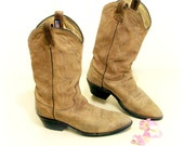 "DAN POST Men's 13"" Tan Roughie Suede Leather Cowboy Boots 10 xtra Wide, buff boho Leather Range Riders."
