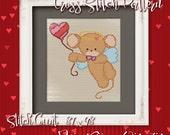 Valentine Mouse 11 Cross Stitch Pattern - Instant Download PDF - Modern Cross Stitch Design