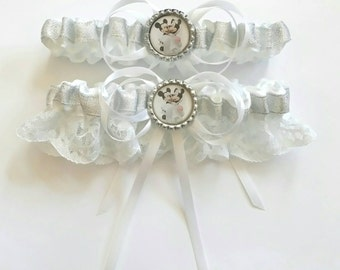 Wedding Day Themed Mickey and Minnie Mouse Satin/Satin and Lace Garter/Garter set- Your choice of embellishment.