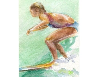 Watercolor Surfer, Surfgirl Print, Surfer Print, Grom Print, Surf Art