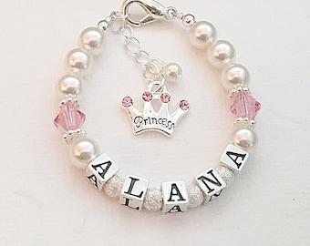 Baby bracelet-Personalized Baby Bracelet Princess-Baby Name Bracelet-Newborn Jewelry-ID bracelet