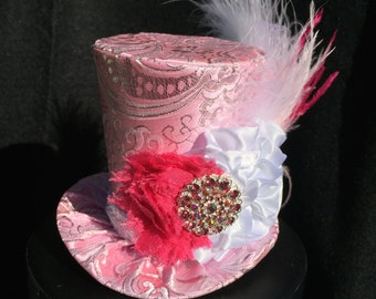Pink and Silver Brocade Mad Hatter Mini Top Hat for Dress Up, Birthday, Tea Party or Photo Prop