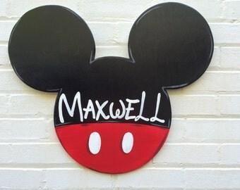 Disney Mickey Mouse Personalized Wooden Door Hanger