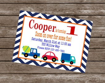 ZOOM ZOOM TRANSPORTATION Birthday Party or Baby Shower Invitations Set of 12 {1 Dozen} - Party Packs Available