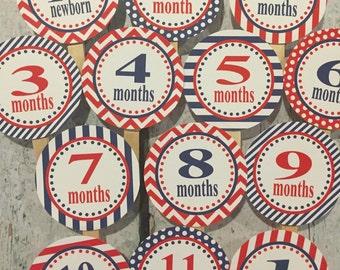 PREPPY MONOGRAM Theme 1st Birthday Photo Clips Banner Newborn - 12 months You Pick Colors