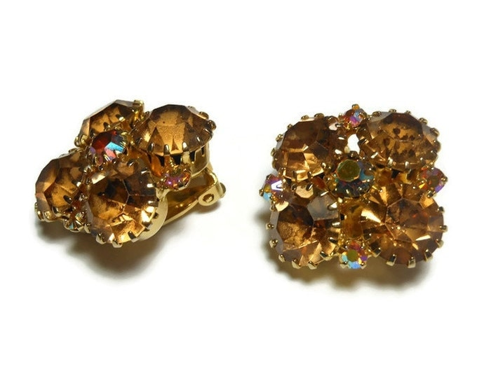 Champagne topaz rhinestone earrings - Juliana style prong set clip earrings, accented with aurora borealis AB, gold plated, wedding perfect