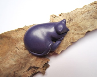 Plum curled-up cat sculpture sparkly decoration hand made OOAK