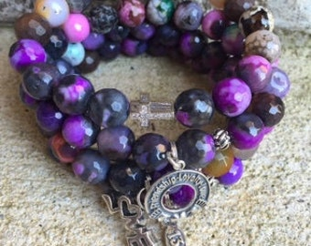 Passionate for Love Purple Beaded Bracelets Stack (4) Bracelets total