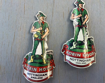 Vintage Robin Hood Bicycle Head Emblem 1950s Bike Decals set of Two