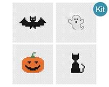 Cross Stitch Mini Motifs Kit - Halloween, Bat, Ghost, Pumpkin, Black Cat, DIY Craft Project, Spooky Home Decor, Learn to Cross Stitch