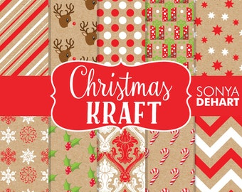 60% OFF SALE Christmas Papers, Kraft Digital Papers, Snowflake Papers, Reindeer Papers, Christmas Background, Holiday Papers DP133