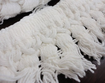 """Fringed Trim from Hobnail Bedspread - 8-2/3 yards by 2-1/4"""" - White"""