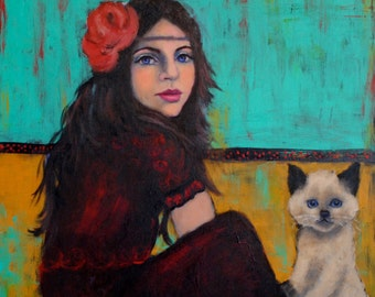 Bohemian Le Chat Original Painting by Kelly Berkey