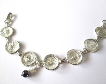 Antique button bracelet, crystal glass buttons, each unique, silver links