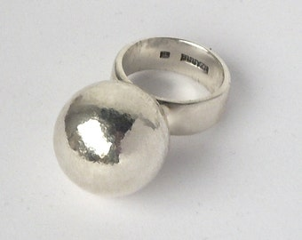 sterling silver big ball ring