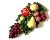 Retro Fruit Plaster Wall Plaque Bright Colorful Chalkware Swag Susan Original Plaster Gifts