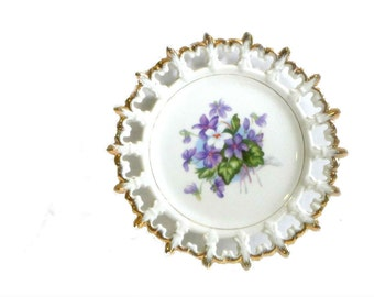 Napco Reticulated Floral Plate Violets Gold Trimmed Hand Painted Lacey Edge Display Plate