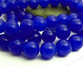 8mm Dark Blue Jade Round Gemstone Beads - 15.5 Inch Strand - BC3
