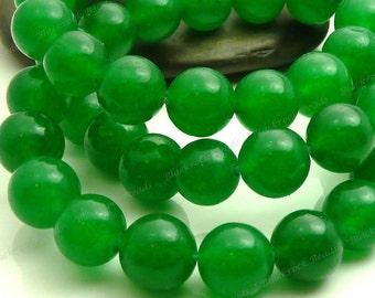 8mm Dark Green Jade Round Gemstone Beads - 15.5 Inch Strand - BC12