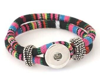 "1 Woven Pattern Bracelet - 7.5"" FITS 18MM Candy Snap Charm Jewelry Silver KB0990 Cj0229"
