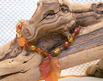 Red Agate Leaf Carnelian and Glass Bead Ribbon Necklace