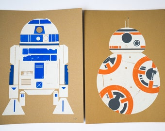 Droid Combo: BB8 and R2D2 Wood Block Screen Print Poster
