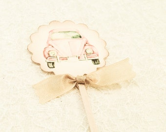 Retro Pink Car Volkswagon Cupcake Topper-Pink Toppers-Sweet Sixteen Party Food Picks and Labels- Cupcake Picks Favors-Set of 12