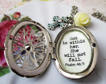Religious Locket jewelry God is within her she will not fall necklace for women Psalm 46 Bible verse inspirational message crusifix charm