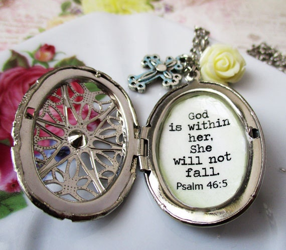 god is within her she will not fall inspirational locket
