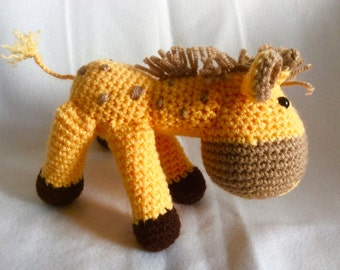 Crochet Giraffe Yellow Brown Handmade Animal Wool Soft Toy Gift