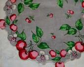 Vintage Round Hankie Red Cherries White Flowers on Grey Background