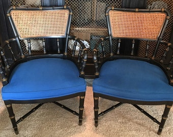 Faux Bamboo Armchairs- Cane/Barrel Chairs Set of Two-Local Pick up Akron, Ohio