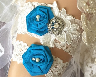 Wedding Garter/ Lace Garter Set, Vintage Wedding/ Garter/ Garter Set/ Ivory Garter Set/ Toss Garter/ Bridal Garter, Something blue garter