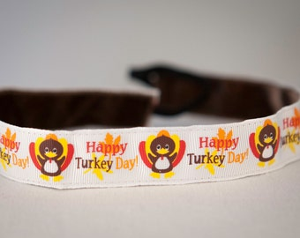 No Slip Thanksgiving Headband Happy Turkey Day 7/8""