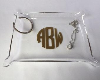Acrylic monogrammed jewelry tray - jewelry tray - monogram tray